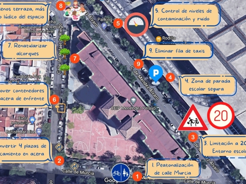 Mapa de propuestas para el entorno del Coelgio Menéndez Pelayo