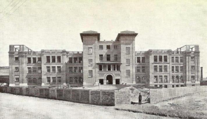 Fachada colegio 1927, en construcción